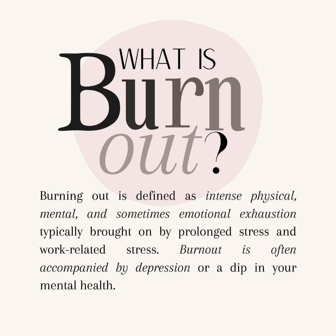 Burning out is defined as intense physical, mental, and sometimes emotional exhaustion typically brought on by prolonged stress and work-related stress. Burnout is often accompanied by depression or a dip in your mental health. Burning out isn't technically a medical condition, however, symptoms it can cause may require some individuals to seek medical intervention or help. (Please do so if you feel you need to.)